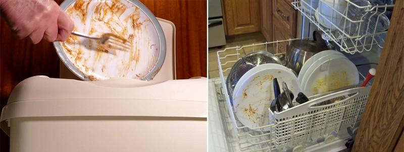 loại bỏ thức ăn thừa trước khi cho vào máy